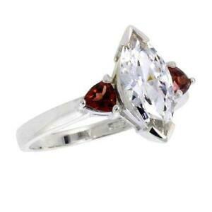 【送料無料】アクセサリー ネックレス スターリングシルバーカットマーキーズargento sterling fidanzamento anello w 12x6mm 16ct taglio marquise amp; a cuore