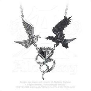 【送料無料】アクセサリー ネックレス ワタリガラスハートペンダントネックレスゴシックピューターalchemy gothic peltro epiphany di st corvus raven colomba cuore ciondolo collana
