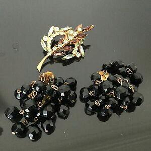 【送料無料】アクセサリー ネックレス ビンテージブローチイヤリングgrande broche boucles doreille vintage 1950 strass brooch earrings 50s
