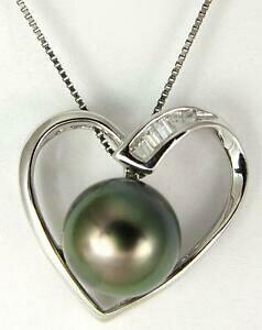 【送料無料】アクセサリー ネックレス タヒチソリッドシルバーパールペンダント867mm originale tahitiana perla ciondolo a cuore argento massiccio 925 457cm