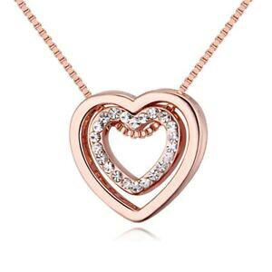 【送料無料】アクセサリー ネックレス ネックレスゴールドチェーンネックレスcollana cuore in cuore oro rosada donna catena collana amore fidanzamento matrimonio amore