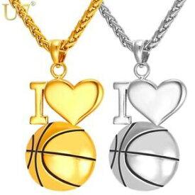 【送料無料】アクセサリー ネックレス バスケットボールハートネックレススポーツクリスマスi love basket cuore collane doro dello sport natale regali per lui lei uomo donna