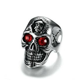 【送料無料】アクセサリー ネックレス メンズステンレススチールレッドラインストーンリングスカルヘッドmens stainless steel red rhinestone ring trendy skull head men jewelry