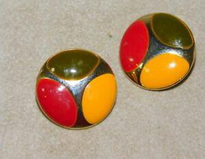 【送料無料】アクセサリー ネックレス グリーンゴールドエナメルカラーゴールドボタンイヤリングクリップオンoro verde giallo rosso smalto color oro bottone orecchini a clip 8d 28