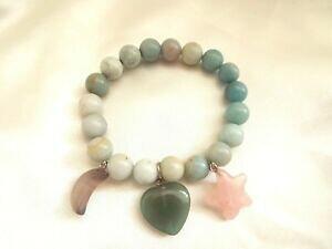 【送料無料】アクセサリー ネックレス ブレスレットスターストレッチムーンハートverde amazzonite gemstone stretch bracciale stella luna cuore charms