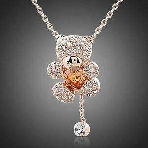 【送料無料】アクセサリー ネックレス ピンクフォームハートブラウンジルコンネックレスcarino orso placcata in oro rosa strass forma cuore marrone zircone ragazza collana