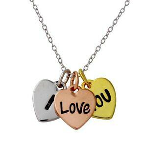 【送料無料】アクセサリー ネックレス スターリングシルバーネックレスハートペンダントargento sterling collana con tricolore i love you ciondolo a cuore
