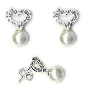 【送料無料】アクセサリー ネックレス スターリングクリスタルイヤリングドロップtoc argento sterling preciosa cuore di cristallo e perla orecchini a goccia