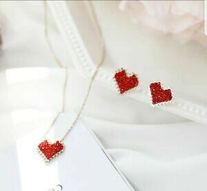 【送料無料】アクセサリー ネックレス ハートイヤリングネックレスピンクゴールドスワロフスキークリスタルセット abbiamo forma a cuore orecchini collana set oro rosa swarovski crystal colore rosso