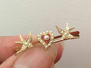 【送料無料】ネックレス ビクトリアダブルシードパールブローチexceptional victorian red enammeled heart double swallow seed pearl brooch boxed