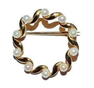 【送料無料】ネックレス ヴィンテージイエローゴールドパールファンシーブローチvintage 9ct yellow gold amp; pearl fancy brooch