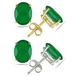 【送料無料】ネックレス エメラルドスタッドボルトkホワイトイエローゴールド100ct emerald studs 14k white or yellow gold