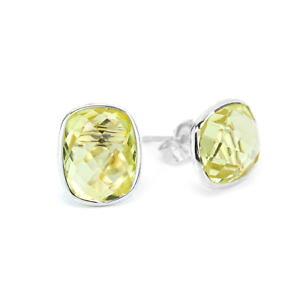 【送料無料】ネックレス kホワイトゴールドクッションカットレモントパーズスタッドボルト14k white gold studs with cushion cut lemon topaz gemstones