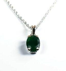 【送料無料】ネックレス 925 チェーンコロンビアエメラルドスターリングペンダント925 sterling silver pendant with chain natural colombian oval emerald gemstone