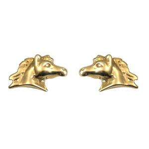 【送料無料】ネックレス ゴールドスタッドボルトhorse head 9ct gold studs hand crafted er388