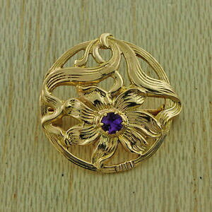 【送料無料】ネックレス ゴールドアメジストフラワーデザインブローチ1963 uk hallmarked 9ct gold 021ct amethyst flower design brooch jd11