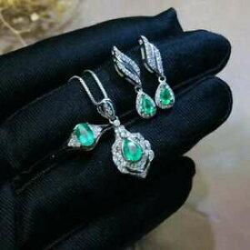 【送料無料】ネックレス コロンビアエメラルドリングペンダントイヤリングシルバーセットcertified natural colombian emerald ring pendant earrings 925 silver set gifts