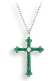 【送料無料】ネックレス ニコールシルバークロスペンダントターコイズエナメルホワイトサファイアセットnicole barr silver cross pendant, turquoise enamel set white sapphire