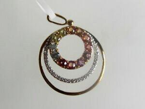 【送料無料】ネックレス ファンシーサファイヤペンダントkゴールドレッドオレンジイエローサファイアfancy sapphire pendant, circles, 9k gold  red, orange, yellow sapphire