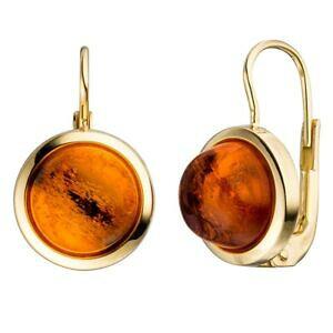 【送料無料】ネックレス イアリングboutonsイアリングオレンジ 333イェローゴールドearrings boutons earrings amber brown orange hemisphere, 333 gold yellow gold