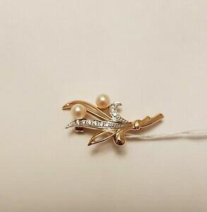 【送料無料】ネックレス ローズゴールドホワイトパールブローチ58514ct rose gold brooch with white pearl