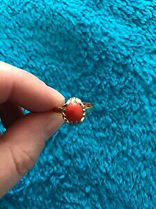 【送料無料】ネックレス ゴールドコーラルリングサイズ14ct gold coral stone ring size s