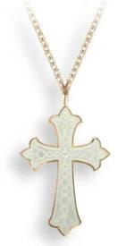【送料無料】ネックレス ニコールローズゴールドスターリングシルバークロスペンダントホワイトエナメルnicole barr rose gold plated sterling silver cross pendant, white enamel