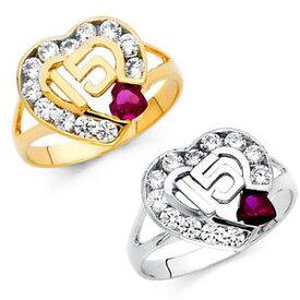 【送料無料】ネックレス メッキマルメロホワイトルビーリング14k gold quince 15 white amp; ruby cz heart quinceaera corazn ring oro anillo