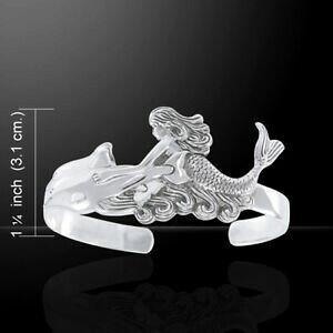 【送料無料】ネックレス マーメイドドルフィンスターリングシルバーピーターストーンカフブレスレットmermaid dolphin 925 sterling silver cuff bracelet by peter stone jewelry