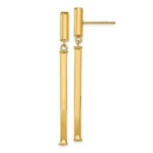 【送料無料】ネックレス イエローゴールドチューブイタリアロングスタッドボルトポストイヤリング14k yellow gold high polished square tube italian long dangle stud post earrings