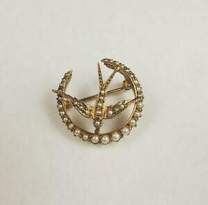 【送料無料】ネックレス イエローゴールドパールブローチ14ct yellow gold amp; pearl brooch
