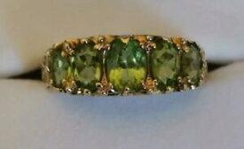 【送料無料】ネックレス ペリドットリングイエローゴールド5 five stone peridot gem ring 9ct yellow gold lush green graduated design