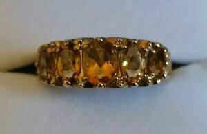 【送料無料】ネックレス 5 five stone citrinering 9ctイェローゴールドオレンジ5 five stone citrine gemstone ring 9ct yellow gold warm orange graduated design