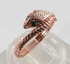 【送料無料】ネックレス ローズゴールドエメラルドアールデコインリングフリーサイズlush 9ct 9k rose gold emerald snake eyes art deco ins ring free resize
