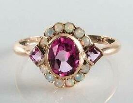 【送料無料】ネックレス kローズゴールドピンクトパーズオパールアールデコインリングフリーサイズlush 9ct 9k rose gold pink topaz amp; opal art deco ins ring free resize
