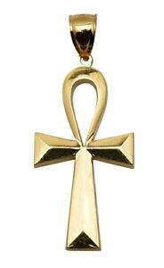【送料無料】ネックレス メンズソリッドkイエローゴールドエジプトクロスペンダントインチmens solid 10k yellow gold egyptian ankh cross pendant charm 22 inch