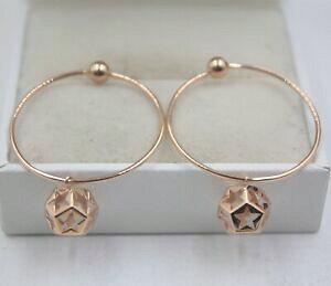 【送料無料】ネックレス 18k37mmイアリング28mmau750ボールチャームpure 18k rose gold hoop earrings 28mm hoop au750 37mm full length ball charm