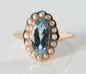 【送料無料】ネックレス lush 9k9ct rose gold blue topaz pearl artdeco ins cluster ring free resizelush 9k 9ct rose gold blue topaz pearl art deco