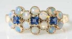 【送料無料】ネックレス lush 9k 9ct gold sapphire opal3daisy art deco ins cluster ring free resizelush 9k 9ct gold sapphire opal 3 daisy art deco