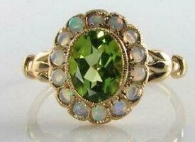 【送料無料】ネックレス lush 9ct 9kgold peridot opal cluster art decoins ring free resizelush 9ct 9k gold peridot opal cluster art deco ins ring