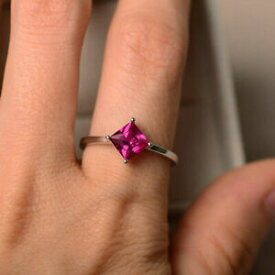 【送料無料】ネックレス 150 ctホワイトルビー14kカット150 ct princess cut ruby engagement wedding ring 14k real white gold rings