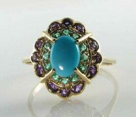 【送料無料】ネックレス lush 9ct 9kgold turquoise emerald amethyst art decoins cluster ringlush 9ct 9k gold turquoise emerald amethyst art deco in