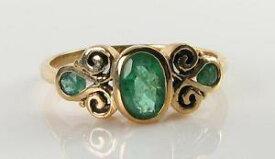 【送料無料】ネックレス lush 9k9ct gold colombian emerald vintage ins trilogy3stone ring free resizelush 9k 9ct gold colombian emerald vintage ins