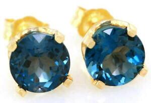 【送料無料】ネックレス 272ctロンドントパーズ14k 14kt sollidピアスイヤリング272ct genuine london blue topaz 14k 14kt sollid gold stud earrings