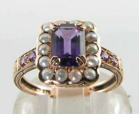 【送料無料】ネックレス ローズゴールドアフリカアメジストパールアールデコインリングフリーサイズlush 9k 9ct rose gold african amethyst pearl art deco ins ring free resize
