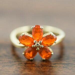 【送料無料】ネックレス リングオレンジゴールドring  orange flourite  9ct gold