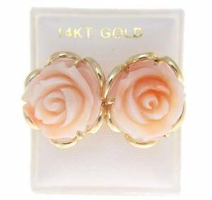 【送料無料】ネックレス ピンクスタッドイヤリングソリッドkイエローゴールドgenuine natural pink coral carved flower stud earrings solid 14k yellow gold