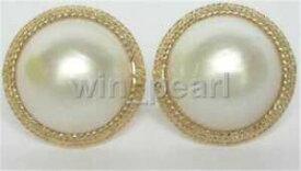 【送料無料】ネックレス サウスシーマベイヤリングソリッドゴールドnatural genuine 19mm white south sea mabe pearls earring 14k solid gold