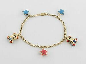 【送料無料】ネックレス イエローゴールドエナメルベアチャームブレスレットグラム18k yellow gold enamel bear and star charm bracelet 7 12 87 grams