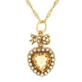 【送料無料】ネックレス ビクトリアアンティークゴールドシトリンパールペンダントツイストチェーンantique victorian gold citrine amp; pearl pendant with twist chain
